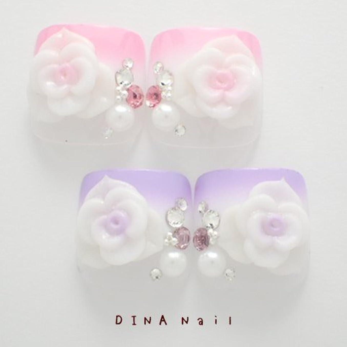 同行わかりやすいツインDINAネイル 二段グラデ薔薇 ぺディキュアS(25678番) ネイルチップ ピンク