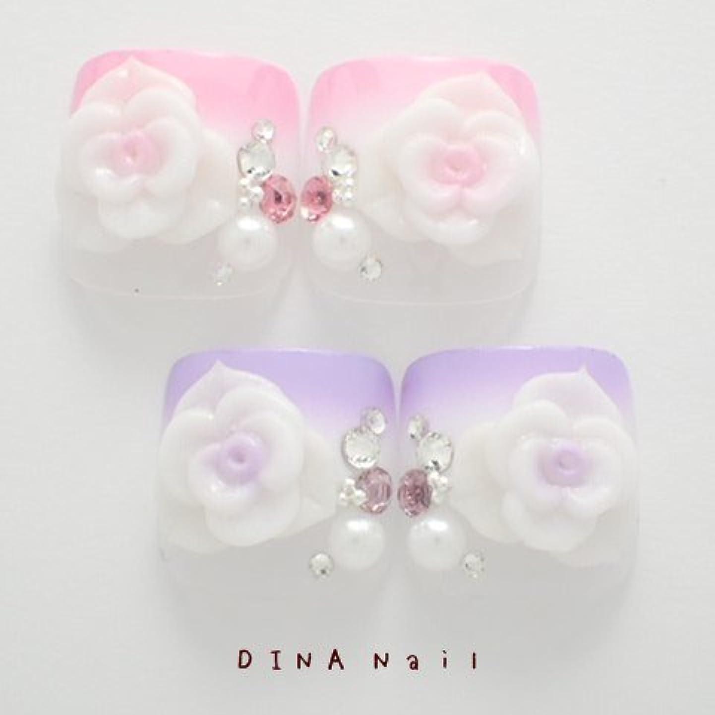 DINAネイル 二段グラデ薔薇 ぺディキュアS(25678番) ネイルチップ ピンク