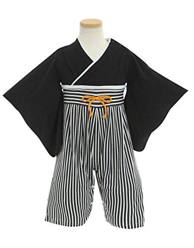 (ポッケポッシュ)Pokke Poche 当店オリジナル はかま風ベビー用ロンパース【248503】 70cm ブラック