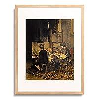 フランツ・フォン・デフレッガー Defregger, Franz von 「Franzl, Hansl und Friedl beim Malen an der Staffelei. 1892.」 額装アート作品