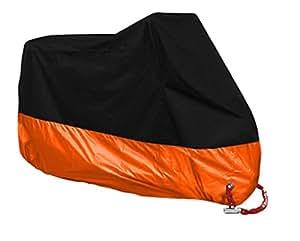 (Blue hawk)防水 耐熱 UVカット バイクカバー オックス210D 厚手生地 風飛び防止 オレンジ