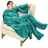 Catalonia Wearable Fleece Blanket with Sleeves and Foot Pockets for Adult Women Men,Micro Plush Comfy Wrap Sleeved Throw Blanket Robe Large,Green
