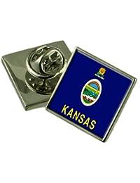 カンザス州のフラグ折りえりピンバッジ 18 mm ギフトポーチを選択します