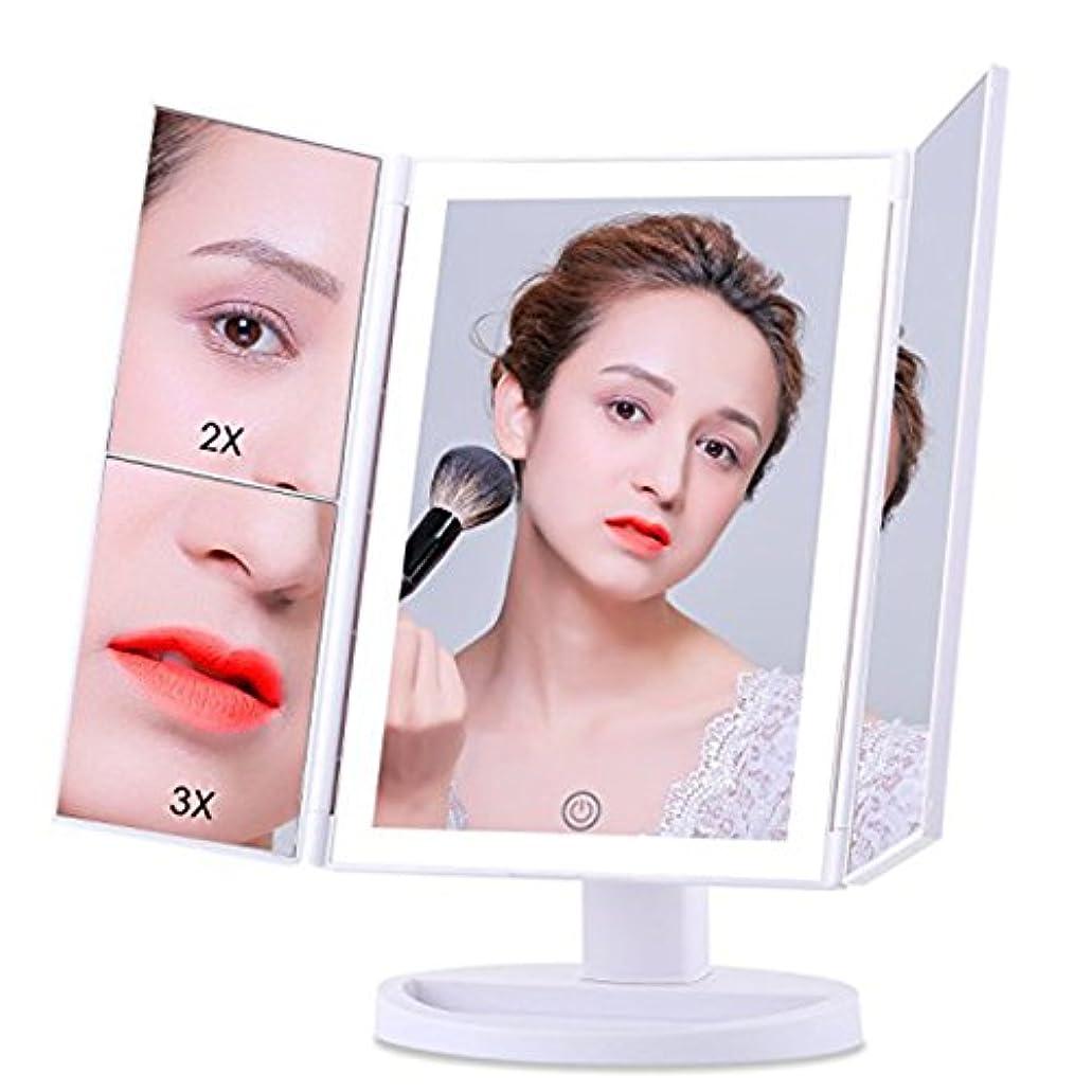 証明ベットインチ逸品製造 3倍拡大鏡 LED化粧鏡 浴室鏡 卓上鏡 曇らないミラー ック付きLEDミラー (ホワイト)