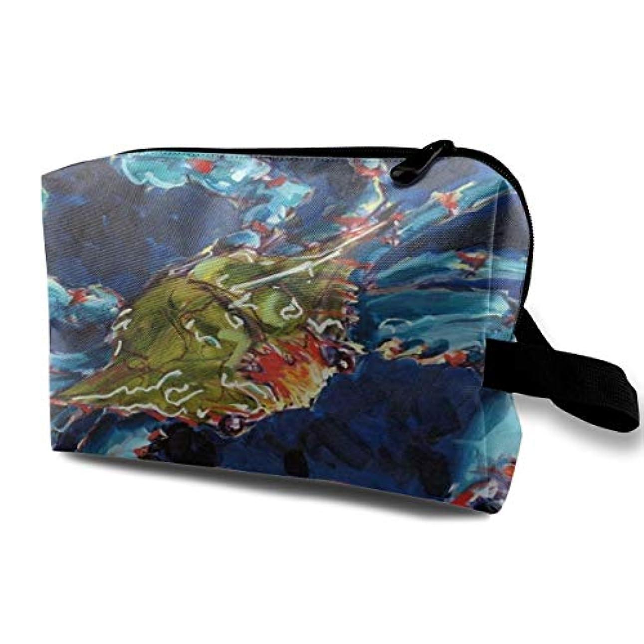 毎週占めるペルメルOil Painting Crab 収納ポーチ 化粧ポーチ 大容量 軽量 耐久性 ハンドル付持ち運び便利。入れ 自宅?出張?旅行?アウトドア撮影などに対応。メンズ レディース トラベルグッズ