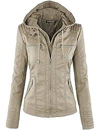 Tisatee-JP 秋と冬 レディーファッションレザージャケット フードパーツは着脱可能 長袖チャック付け S-3XL