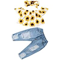 Bowanadacles Baby Girl Clothes 3Pcs Outfit Kid Infant Sunflower Off Shoulder Crop Tops Holed Jeans Headband Set (6M - 4T)