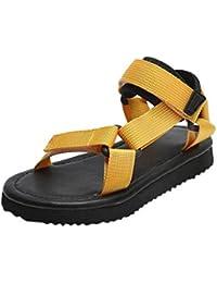 COMVIP 女の子 男の子 ファッション サンダル ビーチ靴 カジュアル キッズシューズ 柔らかい 通気 滑り止め イエロー