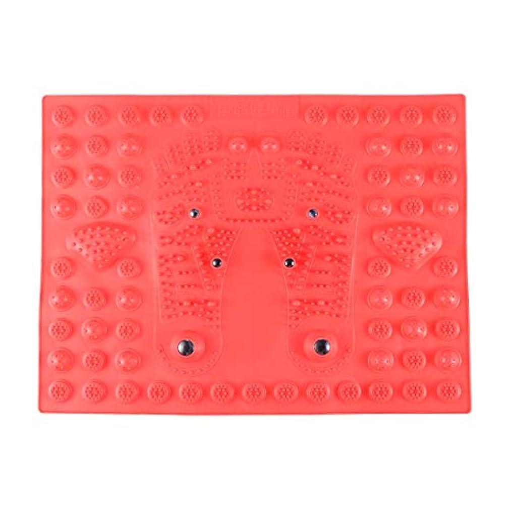 プロジェクターながら危険なSUPVOX フットマッサージマット指圧リラクゼーションリフレクソロジーマット磁気療法フィートマット(レッド)