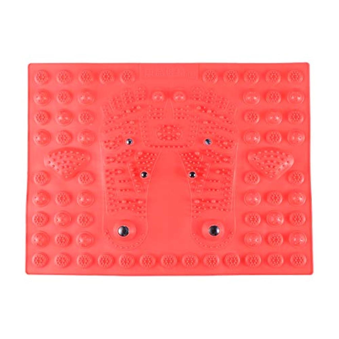 スリップリング大Healifty 指圧フットマットフット磁気療法マッサージャーガーデンマッサージパッド(レッド)