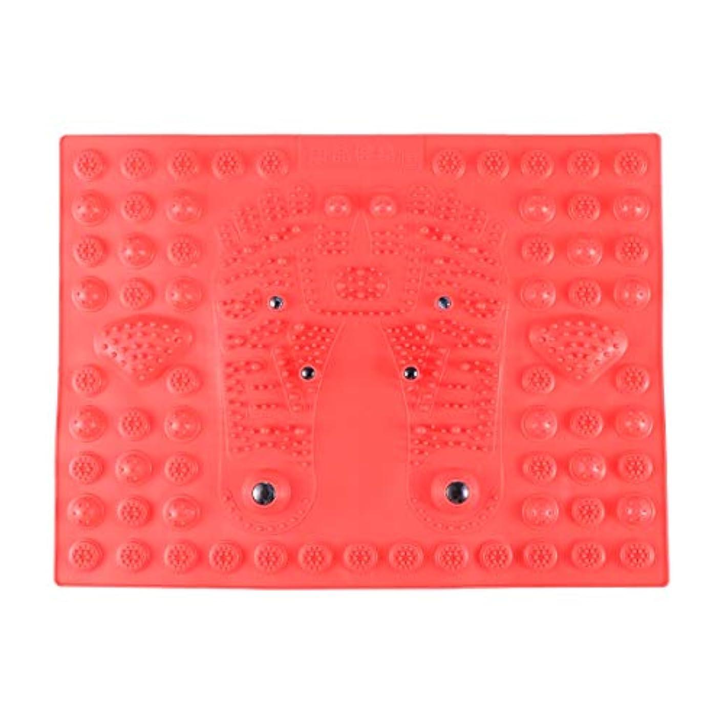 不器用スポット動SUPVOX フットマッサージマット指圧リラクゼーションリフレクソロジーマット磁気療法フィートマット(レッド)