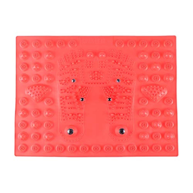 分解するスティーブンソン封建SUPVOX フットマッサージマット指圧リラクゼーションリフレクソロジーマット磁気療法フィートマット(レッド)