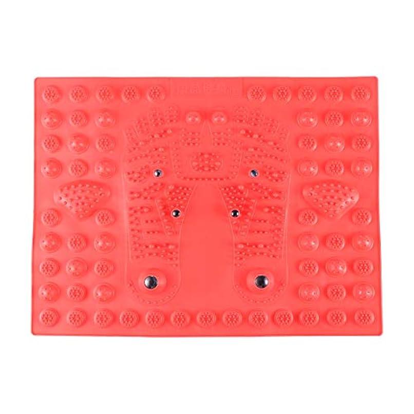 ハドルめったにマイクロプロセッサSUPVOX フットマッサージマット指圧リラクゼーションリフレクソロジーマット磁気療法フィートマット(レッド)