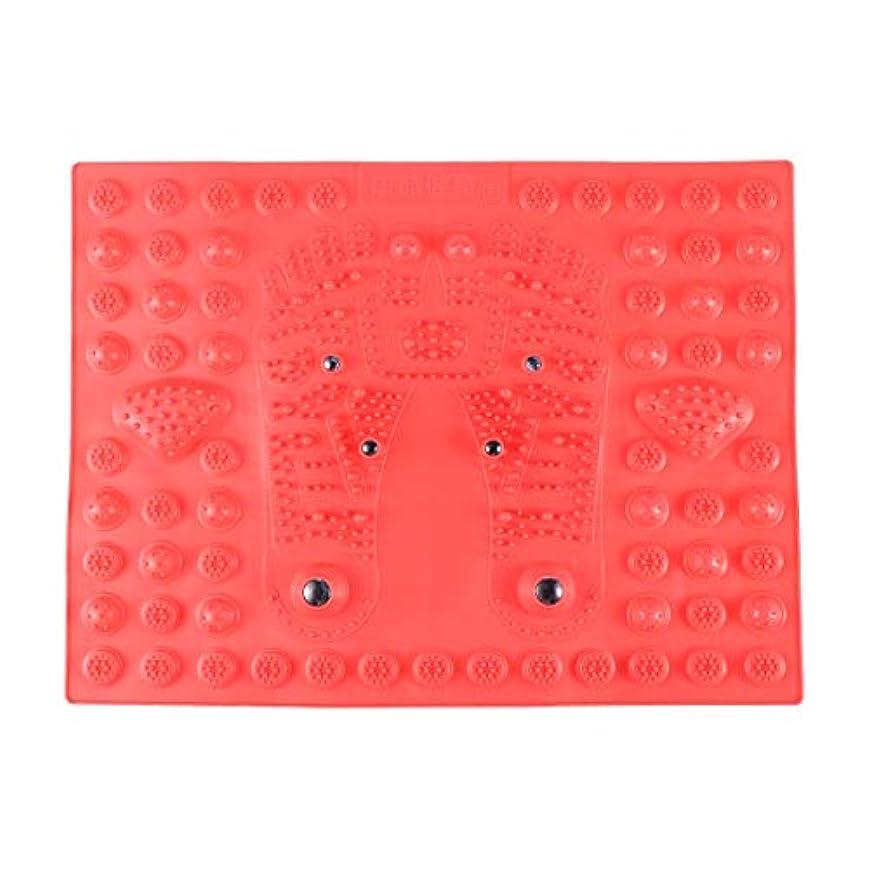 割合豆腐パワーHealifty 指圧フットマットフット磁気療法マッサージャーガーデンマッサージパッド(レッド)