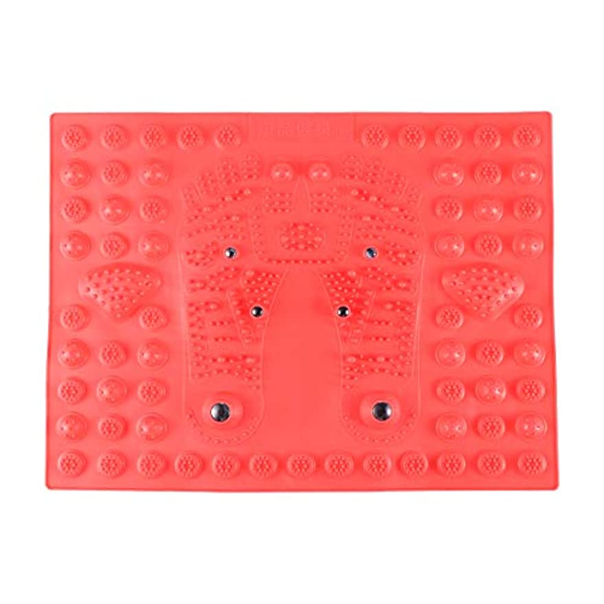 民間多年生合金SUPVOX フットマッサージマット指圧リラクゼーションリフレクソロジーマット磁気療法フィートマット(レッド)