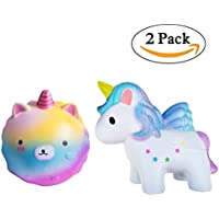 2pcジャンボSquishy玩具、Star Bear + Coloredユニコーン、かわいい香りつきチャーム、Stress Relief Toys for Kids by大人のbagvhandbagro [ 2pc ]