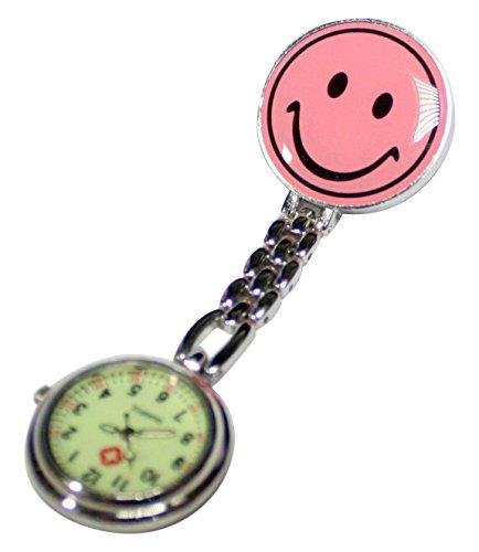 ナースウォッチ 看護師用時計 夜行性 逆さ文字盤 懐中時計 (ピンク)