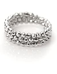 18金 リング K18WG ホワイトゴールド 形状記憶 K18 指輪 フリーサイズ ミラーボール コイルリング