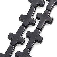作成宝石ストーンビーズクロス黒染め30 × 22ミリメートル、41センチロング、1ストランド(約14ピース) (B23358)