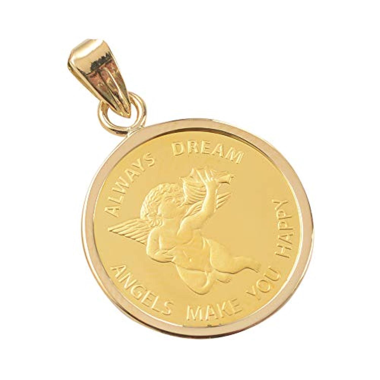 純金 24金 エンジェル 1/25oz 金貨 ペンダントトップ スイス パンプ社 K18 枠付き 新品