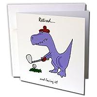 Funny RetiredブルーTrex恐竜Playing Golf–グリーティングカード、6x 6インチ、12のセット( GC _ 203785_ 2)
