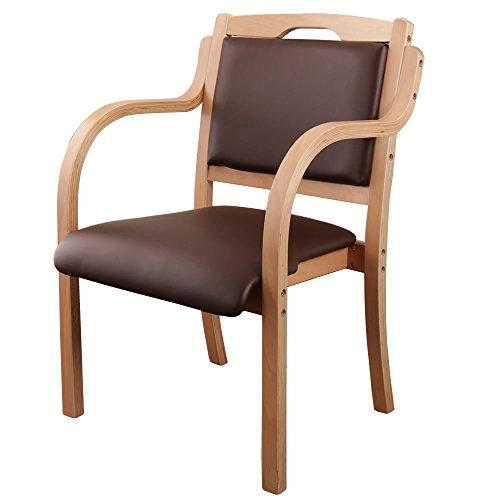 スタッキングチェア 木製 チェア PVC座面 取っ手/ナチュラル-ブラウン