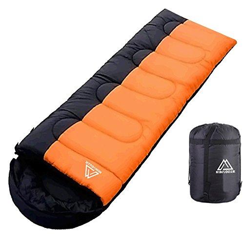 寝袋 封筒型 軽量 sleepingbag アウトドア 登山 車中泊 丸洗い 夏用 冬用 収納袋付き B (B/Orange 1.4kg Left)