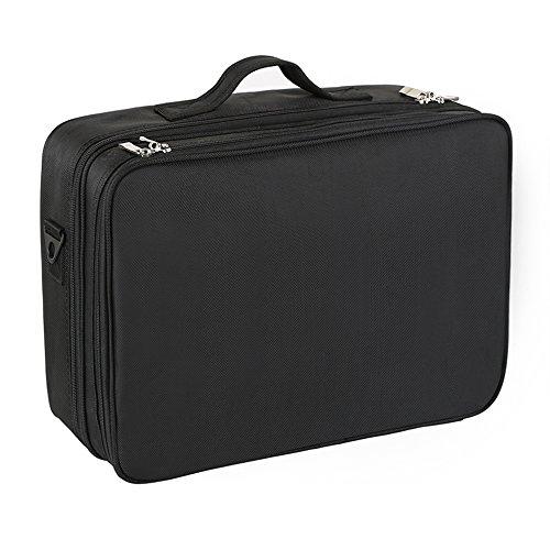 Hotrose メイクボックス プロ仕様-コスメボックス 大容量-キャリータイプ 化粧品 小物 収納ボックス ツールボックス (Mサイズ-42×29×14cm, ブラック)