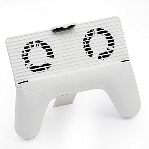 ゲームコントローラ型ホルダー スマホ冷却台 スマーフォン散熱器 冷却クーラー 2000mAhバッテリー内蔵 スマホ 発熱対策 4-6インチ iphone6s/7/7plusなど 多機種対応 (ホワイト)