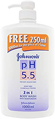 Johnson's PH 5.5 2 in 1 Body Wash with Moisturizers, 1L + 250ml (F