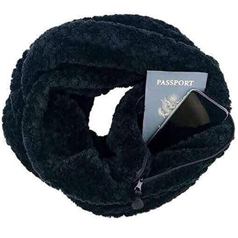 ユニセックス カップル インフィニティスカーフ ラップスカーフ 隠しファスナーポケット付き 暖かい旅行スカーフ 65×18 inch ブラック 68EJN4E5