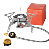 シングルバーナー DigHealth キャンプストーブ 高熱効率ガスバーナー 防風 圧電点火 OD缶/CB缶用ガスアダプター付き