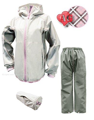 トオケミ(TOHKEMI) 【Field Equipage】 全天候型 アウトドア(透湿レイン) ウェア FE ストレッチ (スリムフィット) Rain Suit (#7900) + キャリーポーチ セット (色選択可能) (AG (プラチナホワイト) ♥入り, M)