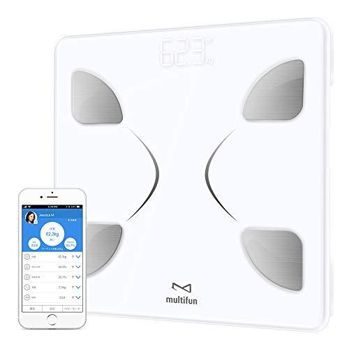 体重・体組成計 multifun 体脂肪計 体組成計 体重計 体重/体脂肪率/体水分率/推定骨量/基礎代謝量/内臓脂肪レベル/BMIなど測定可能 Bluetooth対応 iOS/Androidアプリで健康管理
