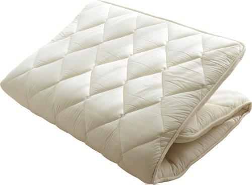 エムール 日本製 5層構造 極厚敷き布団 羊毛混 ダブルロング(約140×210cm) 綿100% 防ダニ 抗菌 防臭 『リーベル』