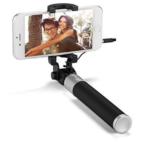YIEASY 自撮り棒 セルカ棒 スマホ 有線 折りたたみ 伸縮自在 シャッターボタン付き 携带便利 iPhone/Android対応 アルミ合金 (ブラック) (黑)