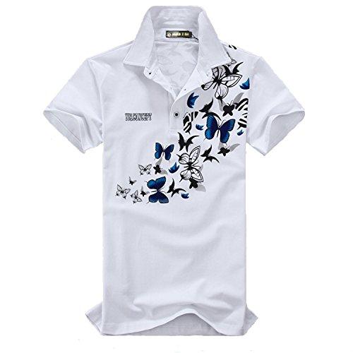 (メイク トゥ ビー) Make 2 Be メンズ 蝶柄 乱舞 ポロシャツ 和柄 半袖 カジュアル シャツ ゴルフ ウェア バタフライ MF02 (08.White XXXXXXL Size)