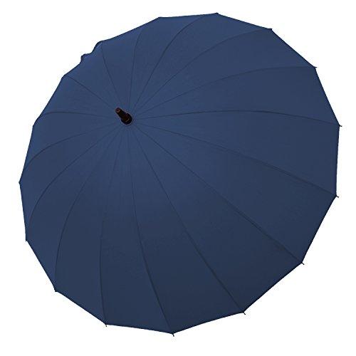 サイベナ Saiveina 長傘 ジャンプ傘 自動開け レディース メンズ 紳士 婦人 撥水加工 耐風 おしゃれ 大きい ブランド 16本骨 グラスファイバー (ダークブルー)