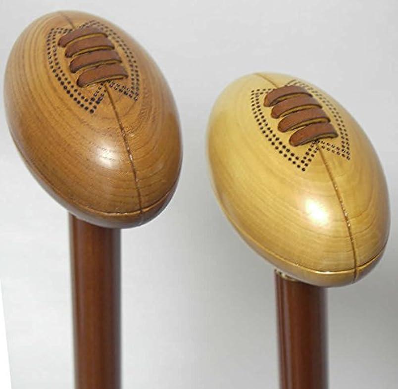 アンビエントゴシップほのかラグビーボール型ストレートステッキ(1本杖)けやき(画像左)
