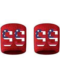 # 99刺繍/ステッチ汗止めバンドリストバンドレッドSweat Band w/USAアメリカ国旗数(2パック)
