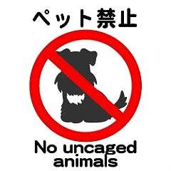 5枚入_ペット禁止_9cm×9cm_アマゾンより発送_ペット・動物ステッカー・ラベル・シール