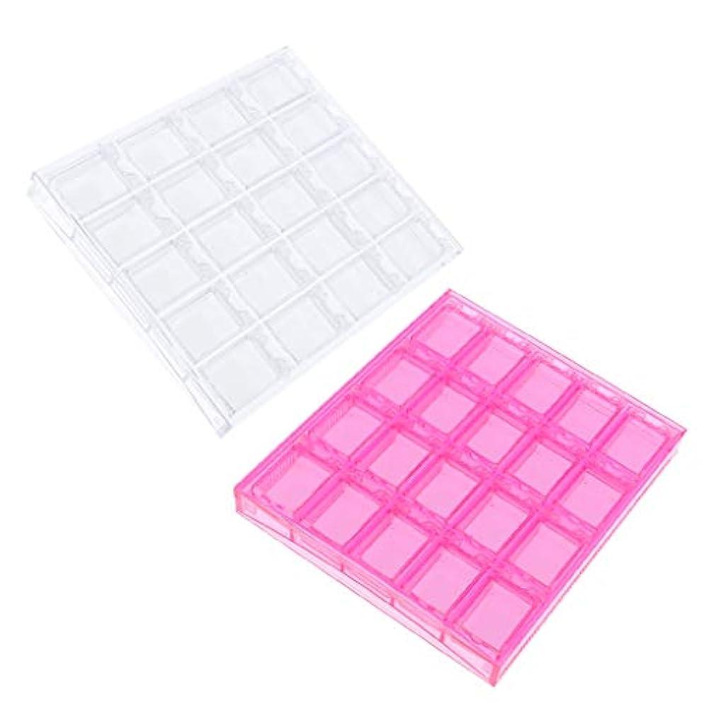 民間代表認知Toygogo プラスチックネイルアートツールストレージケースジュエリーオーガナイザーコンテナークリア+ピンクと20の調整可能なグリッド