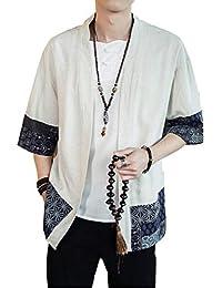 VINMORI (ヴィンモリ) カーディガン メンズ ゆるシルエット 七分袖 和式パーカー 無地 和風 羽織 重ね着 ストレッチ コットン カジュアル 新着 大きいサイズ ニット シンプル