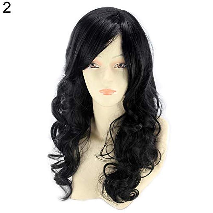 しっとり知覚する伴うslQinjiansav女性ウィッグ修理ツール耐熱性長波状カーリーウィッグ傾斜フリンジマット合成繊維髪