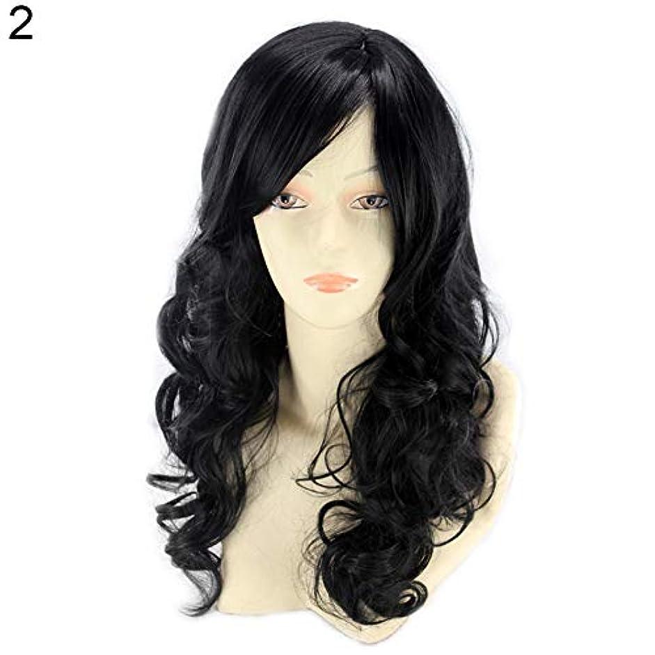 飼いならす音節不従順slQinjiansav女性ウィッグ修理ツール耐熱性長波状カーリーウィッグ傾斜フリンジマット合成繊維髪