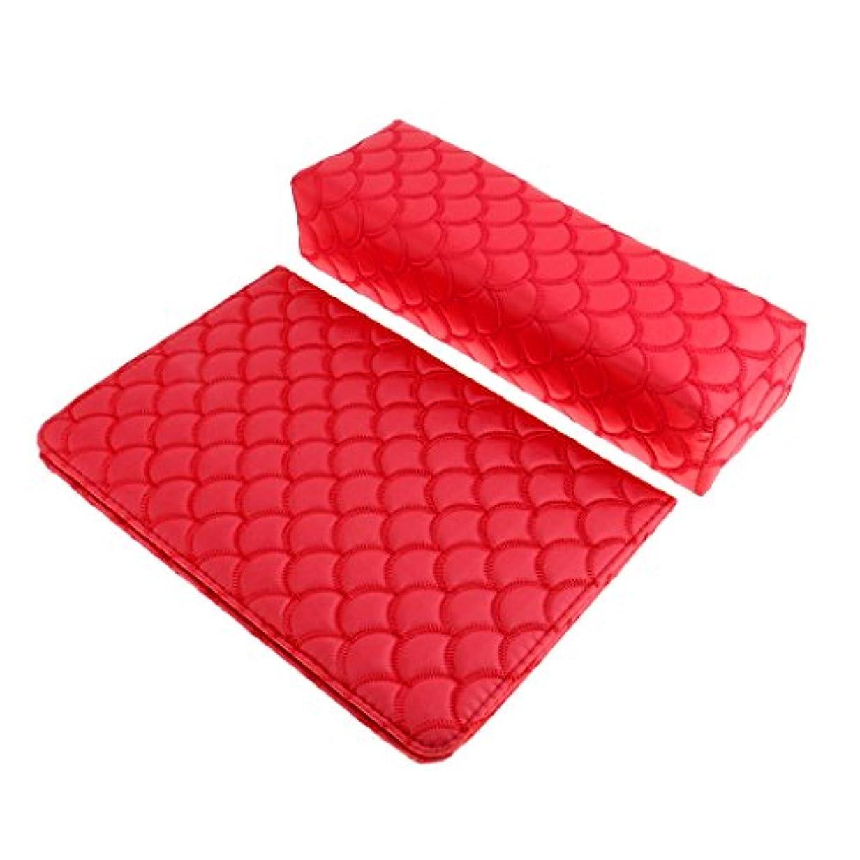 海峡ひも信頼性テクスチャーPerfeclan ソフト ハンドクッション ネイルピロー パッド ネイルアート デザイン マニキュア アームレストホルダー 多色選べる - 赤