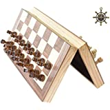 "HOWADE Chess Set 12""x12"" inch Wooden Board Game Magnetic Chess Handmade Crafted Chessmen Travel International Board Games"