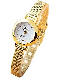 レディース 腕時計 クオーツ 金属ベルト 文字盤 小さい-ゴールド