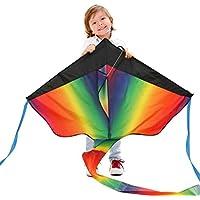 カラフルスカイカイト 三角凧 簡単に揚げられる 大人も子供にも最適!アウトドアタコ 凧糸とハンドル付き