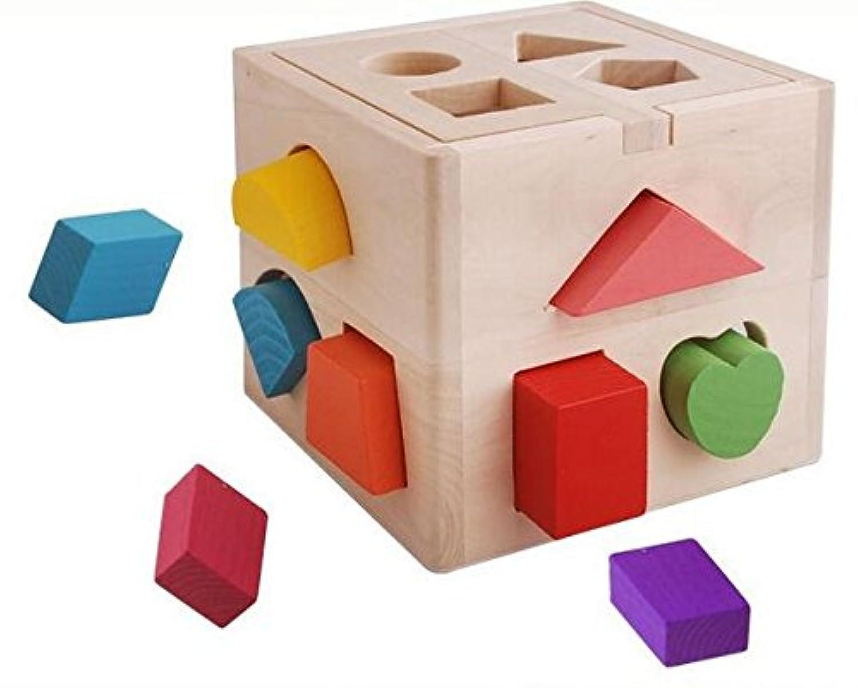 Wishtime 型はめ遊び 図形認知 13点セット 木のおもちゃ はめボックス パズル 立体 積み木 知育 玩具